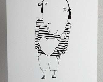 Love illustration, screen printing on A3