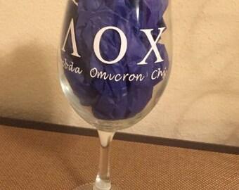 Lambda Omicron Chi Wine Glass