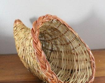 Cornucopia Basket - Vintage Holiday Cornucopia Harvest Thanksgiving Basket - Centerpiece Decoration - Two-tone Wicker Basket