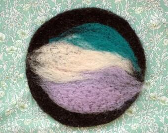 felted wool trivet. hot pad. pot holder. teal/pink/amethyst.