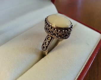Vintage Sterling Silver and White Stone Ring