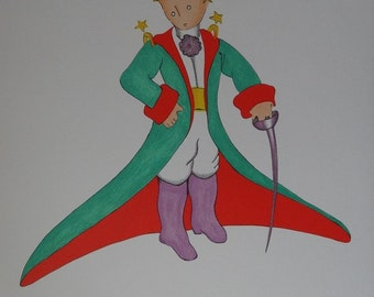 Antoine de Saint Exupéry: The little Prince in great coat, lithograph signed