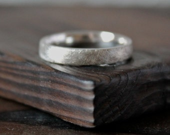 Brushed Silver Ring, Thin Textured Band, Rustic Sand Cast Ring.