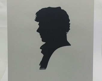"Sherlock Holmes Inspired Cut Paper Silhouette Portrait 8"" x 10"" Cut Out Art Portraits"