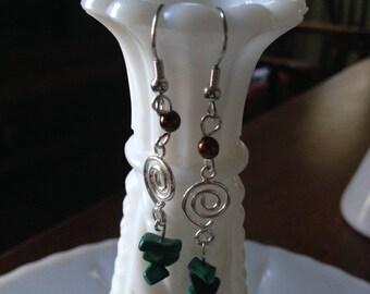 Swirly Malachite Earrings