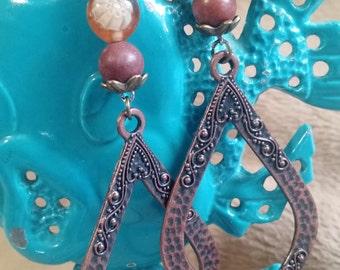 Long brass teardrop earrings