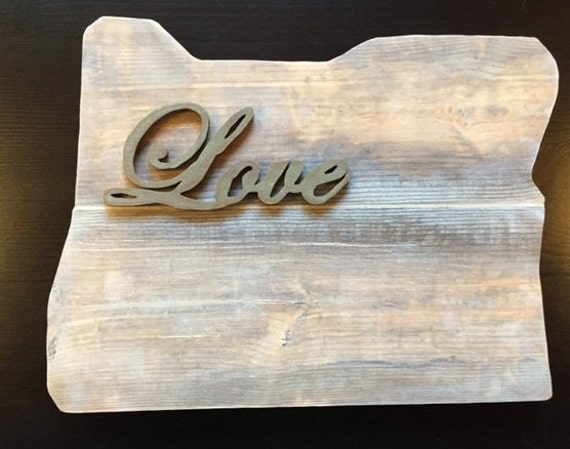 Reclaimed barn wood love oregon wall sign by lauriston7 on for Reclaimed wood oregon