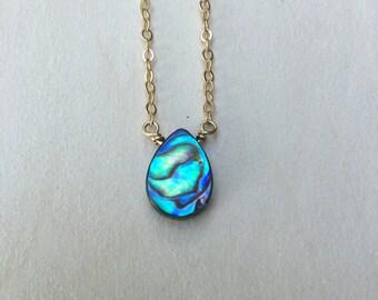 Paradise | Dainty Gold Abalone Necklace