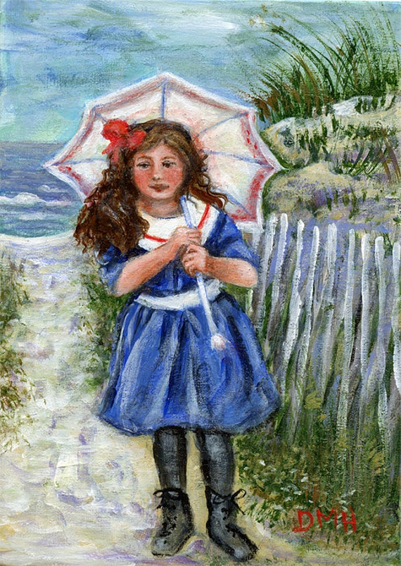 Umbrella by the Sea - a 5x7  original by Dianne Masters Hare