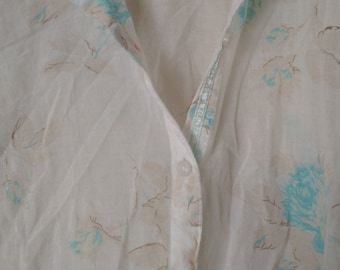White Cotton Button-down Flowered Blouse