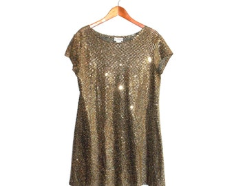 Gold Sequin 80s Holiday Dress Size 12