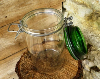 Transparent glass jar and lid of green - hermetic jar - jar made in Italy