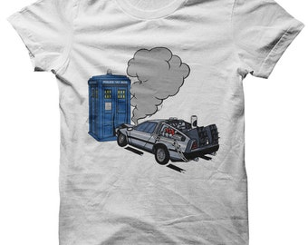 DeLorean crashes into Tardis Dr Who / Back to the Future t-shirt