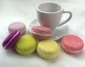 Felted Macarons Set (6 soap cookies), Macaron Soap made with Beeswax