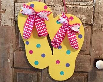 Flip Flop Door Hanger - Summer Decor - Spring Decor - Beach Door Hanger - Beach Decor - Front Door Decor - Summer Door Hanger