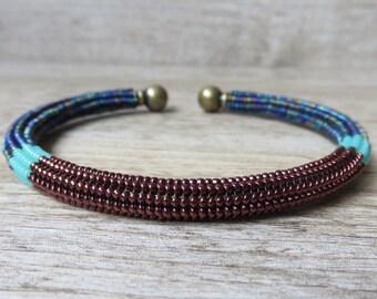 Ndebele turquoise touch adjustable bangle bracelet