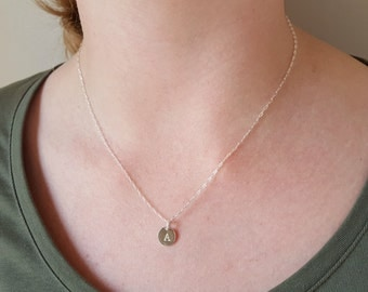 Delicate Initial Necklace - Tiny Monogram Necklace - Minimalist Necklace - Romantic Gift for Girlfriend - Small Silver Charm - Disc Necklace