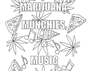 weed coloring pages - hippie coloring book etsy