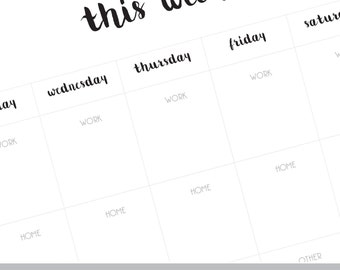 this week planner, this week at a glance, this week page, this week page, this week diary, this week journal