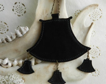 Pendant made of black calfskin leather