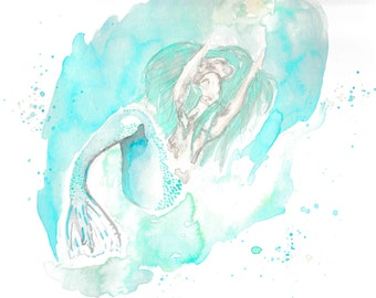 Marina - watercolor mermaid painting