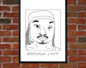 Badly Drawn Marshawn Lynch - Seattle Seahawksposter / print / artwork / wall art