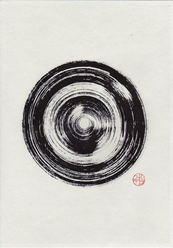 Original Enso Zen Painting Throw Pillows: Zen Infinity Circle. Ink Painting. Enso Suiboku-ga. Sumi-e
