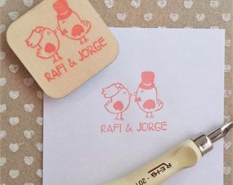 "Personalized wedding label ""Chicks"""