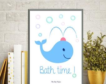 Illustration children, Animal print blue whale, Art print, Kids gift, Kids bathroom decor, Children poster, Poster kids, Instant download