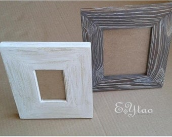 Picture frame made of painted wood.