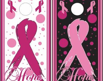 Pink Ribbon Hope Cornhole Wrap Bag Toss Decal Baggo Skin Sticker Wraps