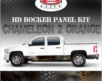 "Chameleon Hex  2 Orange Camo Rocker Panel Graphic Decal Wrap Truck SUV - 12"" x 24FT"