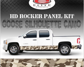 "Goose Hunting Silhouette Camo Rocker Panel Graphic Decal Wrap Truck SUV - 12"" x 24FT"