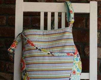 Flower and Stripe Messenger Bag