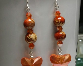 Orange Crystal Butterfly Dangle Earrings with decorated wood beads