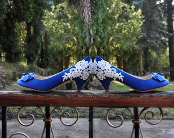 Something blue wedding shoes blue wedding shoes bridesmaid shoes blue low heels royal blue wedding shoes bow and lace wedding shoes blue