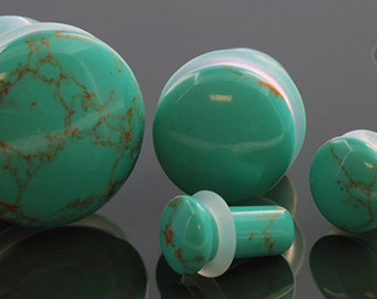 """SF Synthetic Turquoise plugs 8g (3mm), 6g (4mm), 4g (5mm), 2g (6.5mm), 0g (8mm), 00g (9.5mm), 7/16 (11mm), 1/2"""" (12.5mm), 9/16"""" (14mm), 5/8"""""""