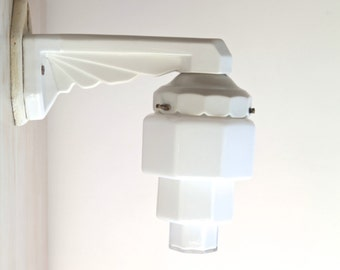 SALE Art Deco Lamp, 1930s Skyscraper Milk Glass Shade and Porcelain, Wall Sconce, Bathroom Lighting, Hall Lighting Fixture