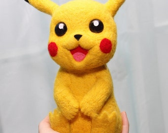 Needle Felted Pikachu, Pokemon, Pikachu Needle Felt, Needle Felted Pokemon