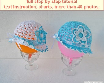 PDF Pattern full step by step tutorial crochet Lace summer hat, white blue baby sunhat, how crochet airy openwork panama with brim flower
