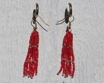 Red and Gold Beaded Tassel Earrings