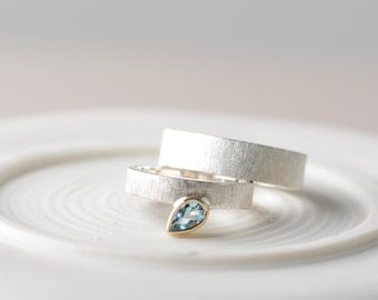 Wedding bands his and hers, blue topaz wedding bands,  silver and gold wedding bands, wedding ring set, engagement ring with gemstone