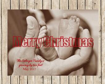 Pregnancy Announcement Photo Christmas Cards, Personalized Christmas Cards, Print Ready Christmas card, Custom Pregnancy Christmas Cards