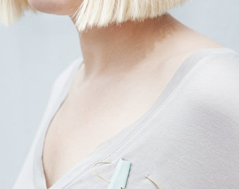 Geometric Simple Minimalist brooch / Statement Jewellery pastel blue pin /polymer brass / modern gift contemporary minimal