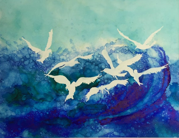 Wave Of Sea Birds Original Alcohol Ink On 11x14 Yupo Paper