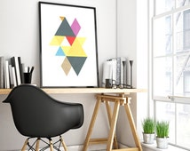 mid century poster, abstract geometric, geometric wall art, triangle prints, geometric poster, wall art living, nordic design poster, art