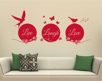Live, laugh, love, wall sticker, wall decal, decal, butterflies, birds, floral, live laugh love wall sticker, wall art decal, wall art