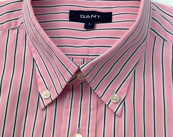 Men's Vintage 1990's preppy style Pink with black and white stripes long sleeved shirt by Gant in 100% cotton