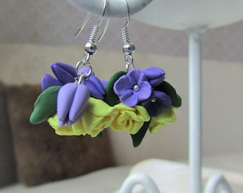 Polymer clay jewelry, Flower Earrings, Summer, Violet yellow green