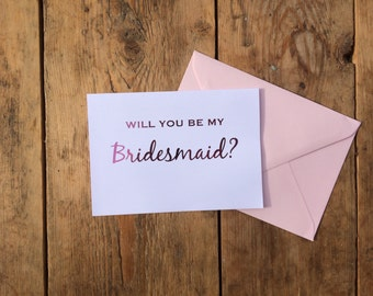 will you be my maid of honour card, will you be my bridesmaid card, pink card